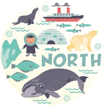 Biegun północny ze zwierzęciem i igloo