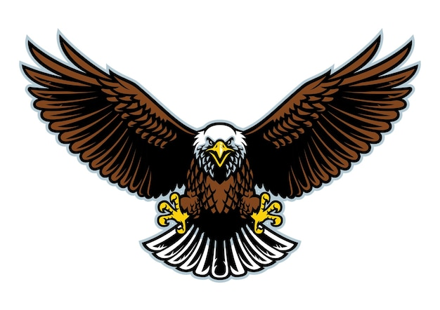 Bielik lecący z szeroko otwartymi skrzydłami