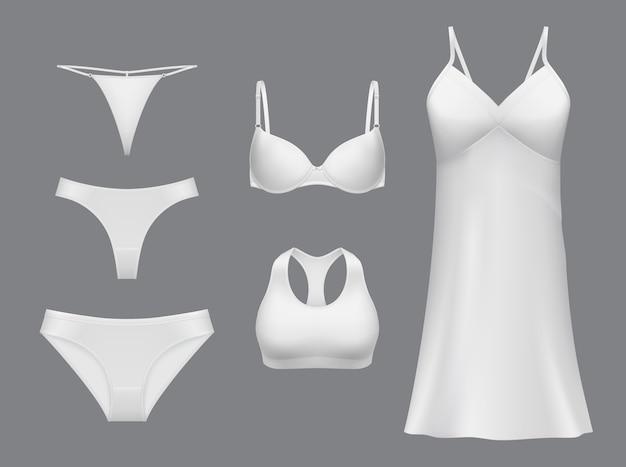 Bielizna damska. bielizna, realistyczna kolekcja eleganckiej koszulki nocnej, stringów majtek, bikini, stringów i biustonosza. nowoczesna bielizna damska, biały szablon odzieży, pościel dla dziewczynki