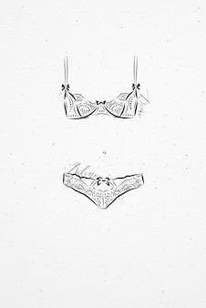 Bielizna moda bikini rysunek w stylu vintage na tle papieru akwarelowego