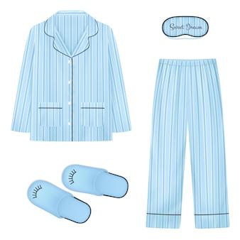 Bielizna nocna realistyczny zestaw w kolorze niebieskim z kapciami naszywki do snu i piżamy na białym tle ilustracji