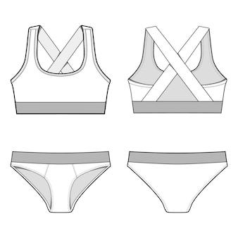 Bielizna sportowa zestaw moda płaskie szablony