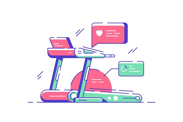 Bieżnia do ilustracji utraty wagi. elektroniczna maszyna z inteligentnym płaskim wyświetlaczem. symulator na siłowni. pojęcie sportu i zdrowego stylu życia. odosobniony