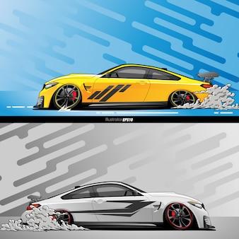 Bieżny samochód i dymna ilustracja