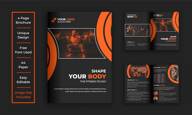 Bifold / halffold broszura klubu fitness