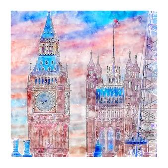 Big ben london wielka brytania szkic akwarela ręcznie rysowane ilustracji