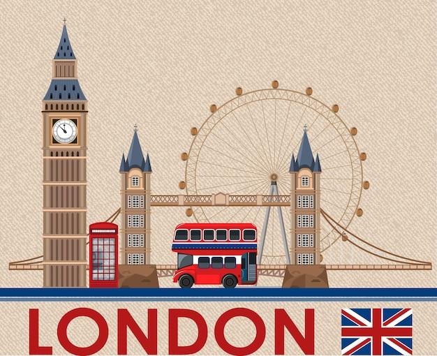 Big ben londyn na brązowym papierze pocztówkowym