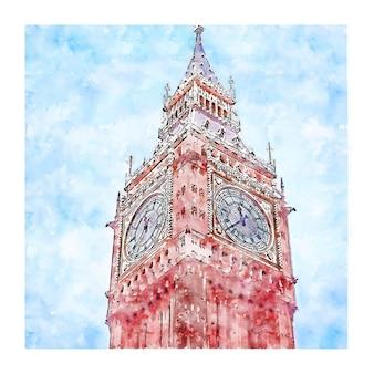Big ben tower londyn akwarela szkic ręcznie rysowane ilustracji