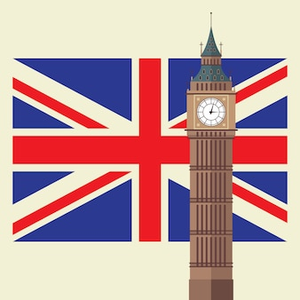 Big ben z flagą wielkiej brytanii