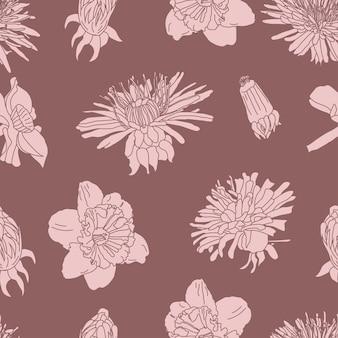 Big bloom vintage line art bezszwowe kwiatowy wzór