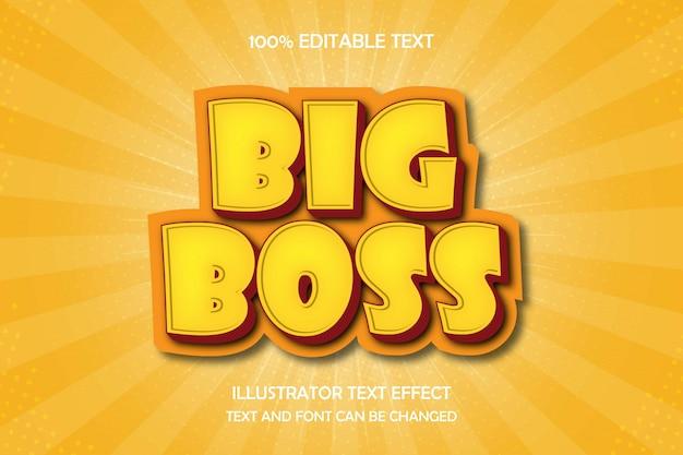 Big boss, edytowalny tekst 3d efekt nowoczesnego stylu komiksowego cienia