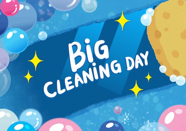 Big cleaning day colorful illustration