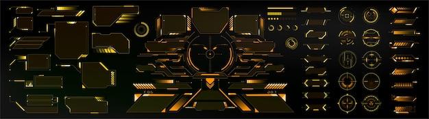 Big collection żółte elementy hitech interfejs hud do projektowania gui ui ux