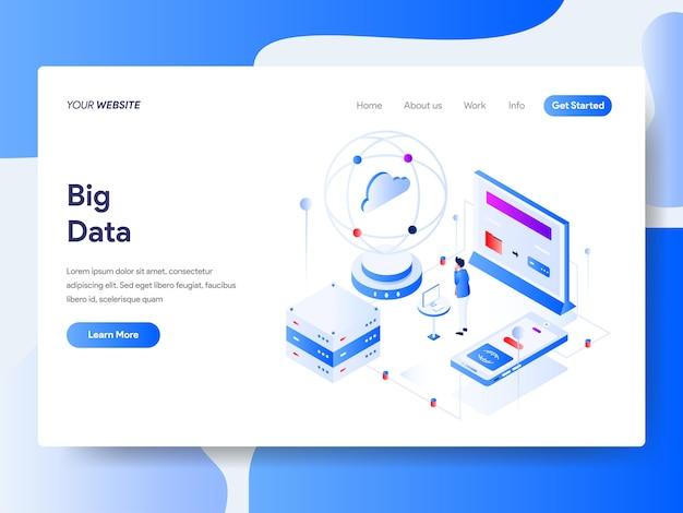 Big data isometric na stronie internetowej