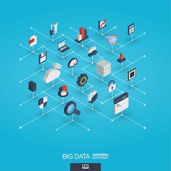 Big data zintegrowane 3d ikony sieci web. koncepcja interakcji izometrycznej sieci cyfrowej.