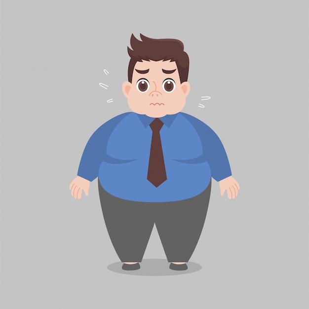 Big fat kobieta pracująca martwić się ubraniami roboczymi
