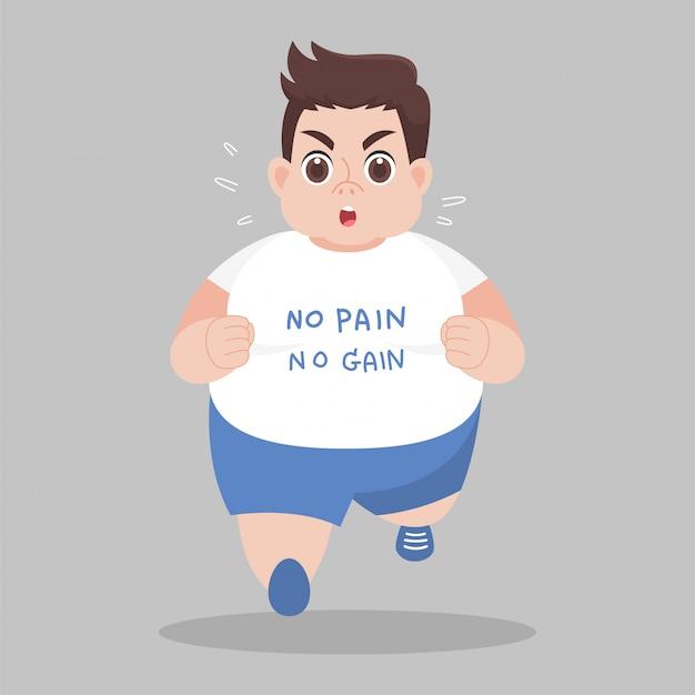 Big fat man running chce schudnąć