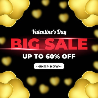 Big sale valentine day banner with black gold baloon