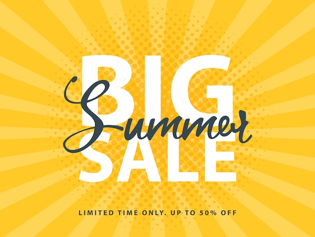 Big summer sale banner z dekoracją rastra w stylu retro pop-art
