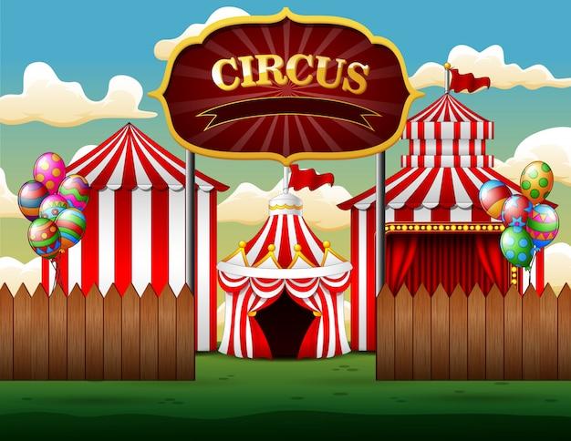 Big top namioty cyrkowe białe i czerwone tło