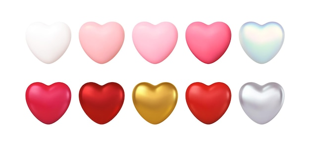 Big valentines day zestaw różnych kolorów realistyczne złote, czerwone, różowe, srebrne, białe serca na białym tle.