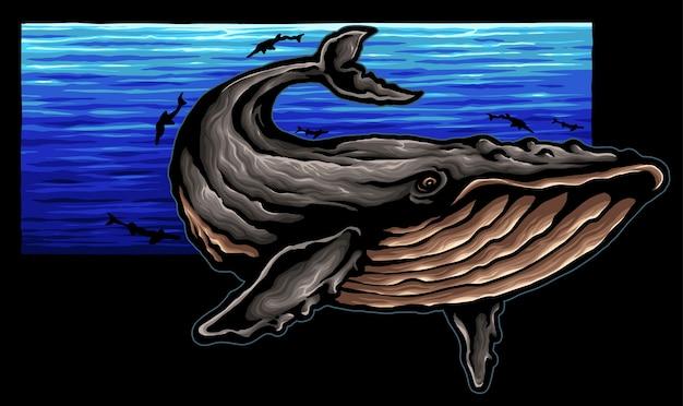 Big whale ocean illustration