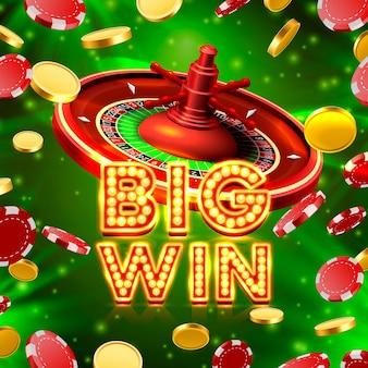 Big win szyld kasyna w ruletkę, projekt banera gry. ilustracja wektorowa