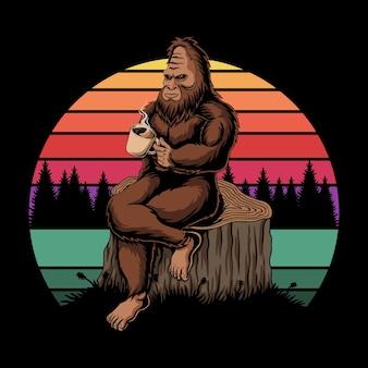 Bigfoot relaksująca kawa retro zachód