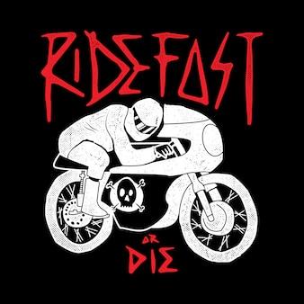 Biker rider motocykl linia grafika ilustracja sztuka projekt koszulki