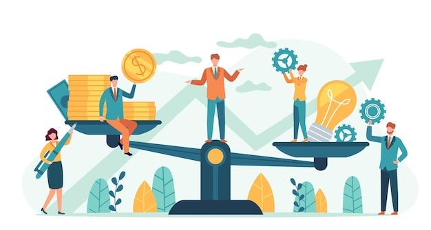 Bilans pieniędzy i pomysłów. inwestor porównuje pomysły biznesowe i finanse na wadze. kupowanie kreatywnego projektu lub startupu, mały ludzki wektor. ilustracja idea równości zysk, harmonia i równowaga inwestycji