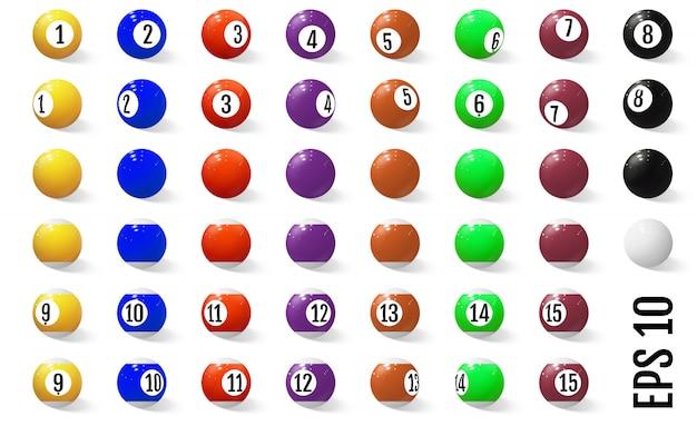 Bilard, piłki snookerowe z numerami.