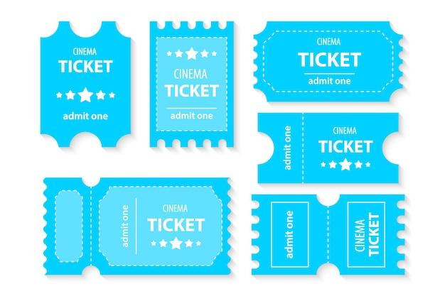 Bilet do kina. bilet na film. realistyczna ilustracja widok z przodu. karta kuponowa z kuponami szablonowymi