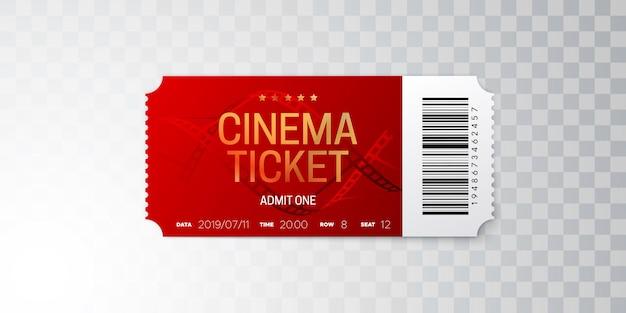 Bilet do kina czerwony na przezroczystym tle