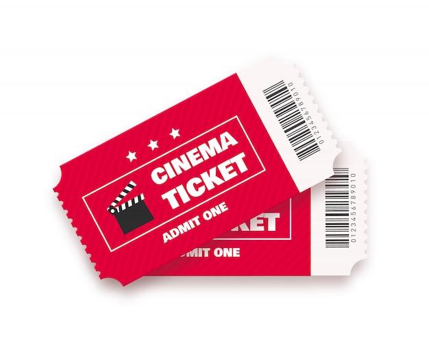 Bilet do kina na białym tle.