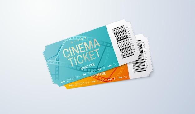 Bilet do kina na białym tle
