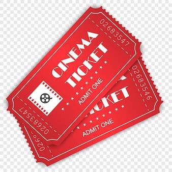 Bilet do kina na przezroczystym tle.
