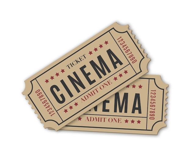 Bilet do kina retro na białym tle ilustracji wektorowych