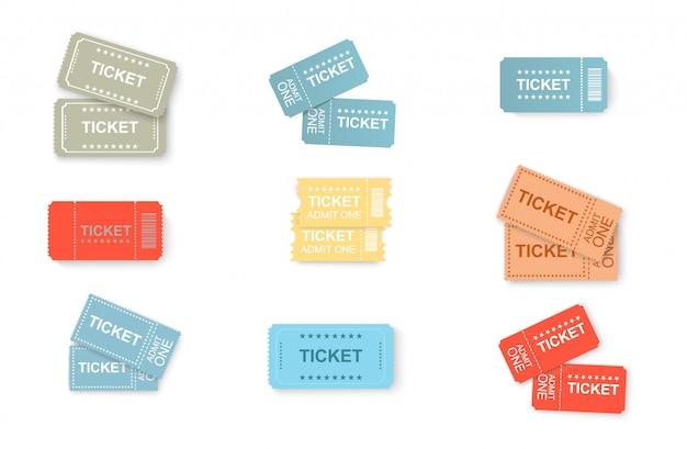 Bilet ikony na białym tle. grafika wektorowa biletów do kina, samolotu, teatru, kina