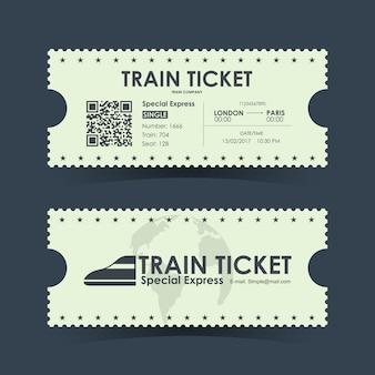 Bilet Kolejowy Rocznika Ilustracji Premium Wektorów