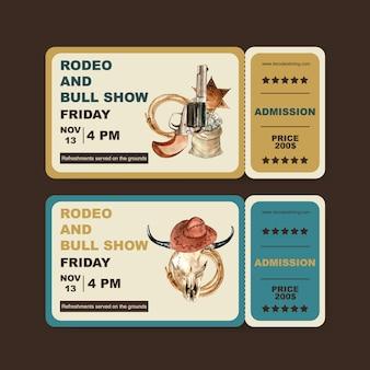 Bilet kowbojski z bronią, pieniędzmi, krową czaszką