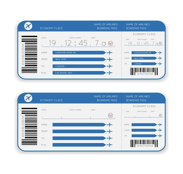 Bilet lotniczy karta pokładowa na białym tle