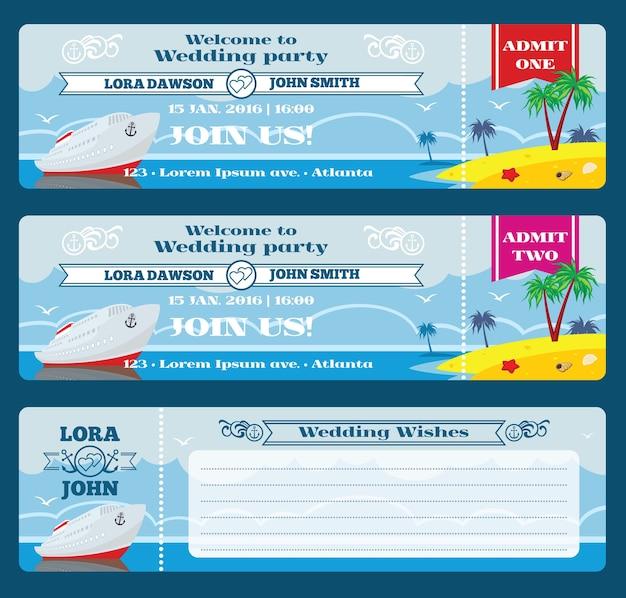 Bilet na kartę pokładową retro. szablon zaproszenia ślubne. uroczystości i życzenia, przyjęcie weselne, ilustracji wektorowych