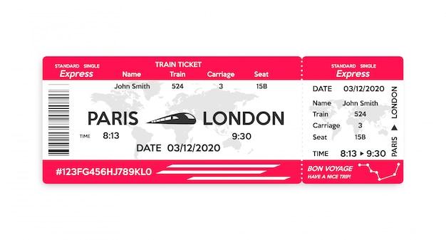 Bilet na pociąg na białym tle