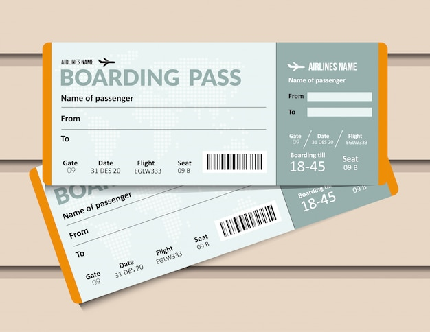 Bilet na samolot. szablon karty pokładowej linii lotniczych. dokument przepustki na lotnisko i samolot.