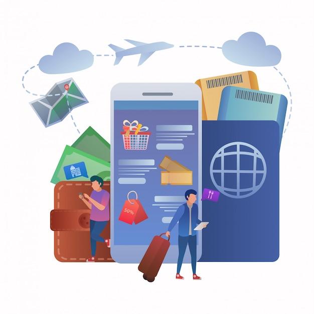 Bilet rezerwacja online travel app concept