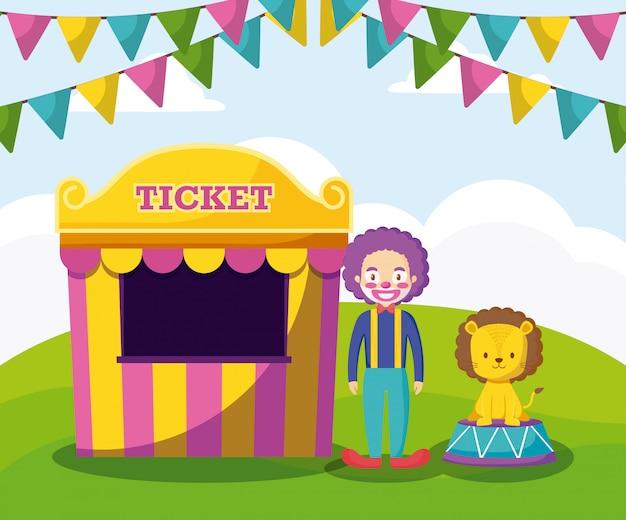 Bilet sprzedaży namiotów z klaunem i uroczym lwem