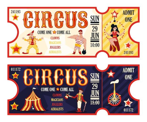 Bilety cyrkowe retro ustawione na występy poranne i wieczorne