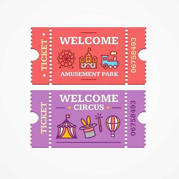 Bilety do cyrku i parku rozrywki zestaw ikon stylu płaskiej konstrukcji