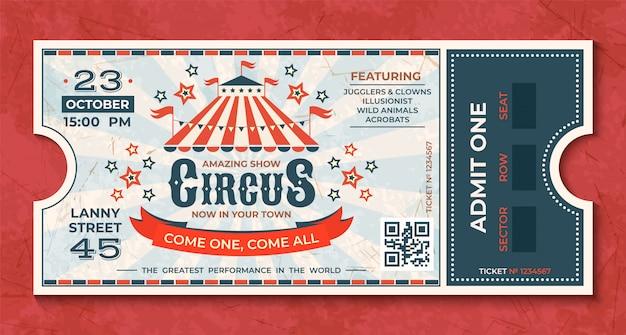 Bilety do cyrku. vintage karnawałowy luksusowy kupon retro z namiotem i ogłoszeniem imprezy. cyrkowa luksusowa kartka z życzeniami