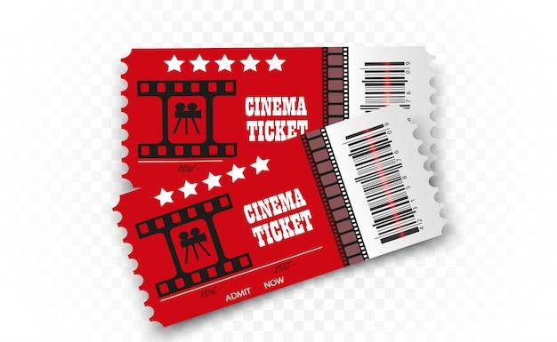 Bilety do kina na przezroczystym tle. realistyczny bilet wstępu do kina.